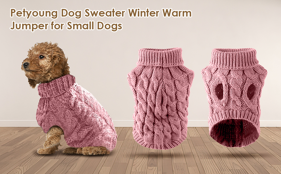 Petyoung Dog Sweater Vest Warm Coat, Pet Soft Knitting Wool Winter Sweaters Knitted Crochet Coat Clothes for Small Middle Large Dogs