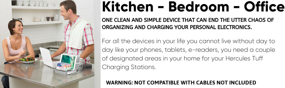 kitchen, office, bedroom, charging station to organize phones, tablets, ipads