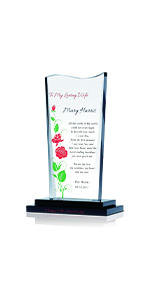 Personalized Crystal Rose Gift Plaque for Wife on Valentine's Day