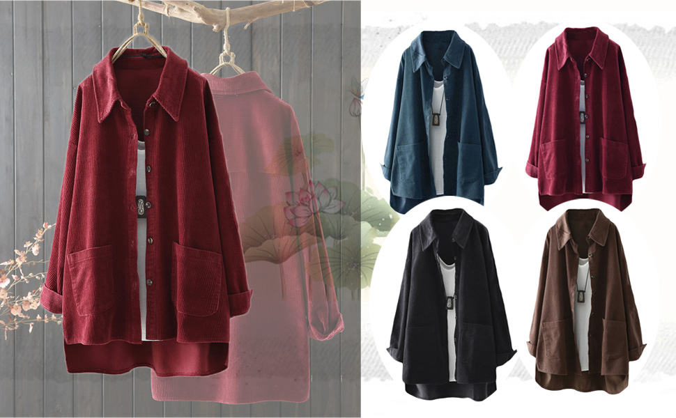 Mordenmiss Women's Button Down Shirt Jacket Casual Corduroy Coat Lightweight Long Sleeve Blouse
