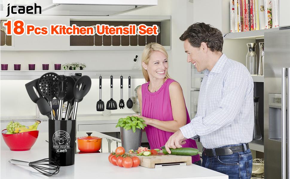 Kitchen Utensil Set with Holder