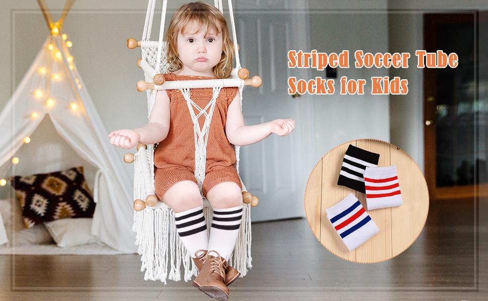 Boys Girls Toddler Kids Knee High Length Cotton Stripes School Sports Socks TFSU