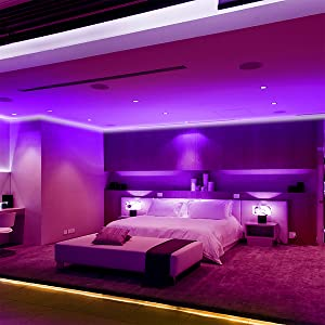 Amazon Com Volivo Led Strip Lights For Bedroom 25ft Flexible Rgb Led Lights For Bedroom Color Changing Led Rope Lights Strip With Remote Home Improvement