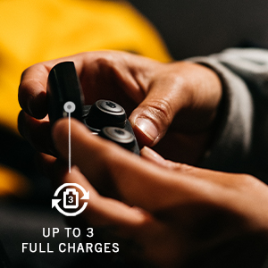 up to, 3, full, charges, hands, holding, charging, case, earbuds, black, yellow, battery, standby