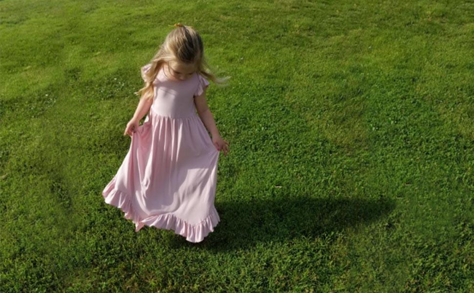 girls maxi single layer dress