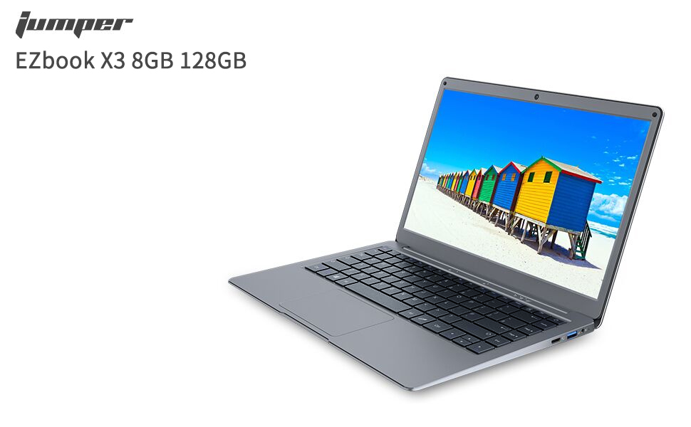 Support 128GB TF Cardand 1TB SSD Expansion Jumper Laptop 13.3 inch 8GB RAM 128GB ROM Quad Core Celeron Full HD 1080P Display Windows 10 Thin and Light Laptop