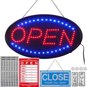larger open light sign