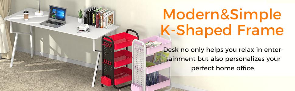 Computer Desk Mouse pad K-Shaped Writing Table Workstation Handle Rack Cup Holder Headphone Hook