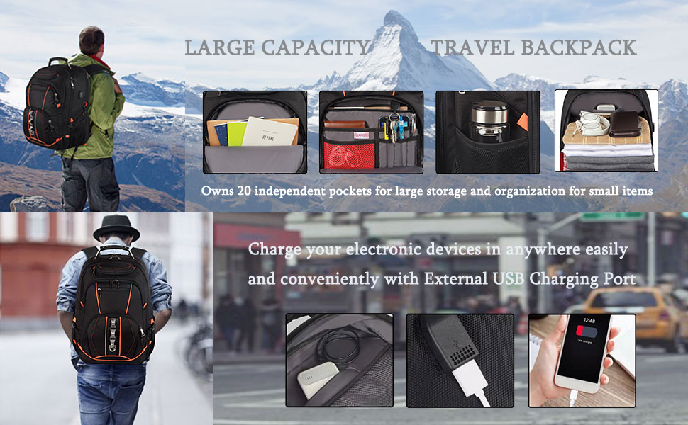 Large capacity and organized: men travel backpack owns 20 independent pockets for large storage