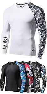 Lafroi T-shirt manches longues anti-UV CLYYB UPF 50+ Maillot de compression moulant pouvant /être mis sous les v/êtements Pour homme