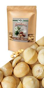 macadamia noten noot rauw heel ongezouten zonder zout zoutvrij niet gebakken gezond tussendoortje