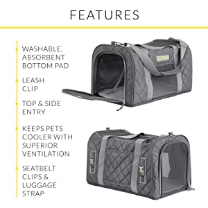 pet carrier with leash clip, top and side entry, added ventilation, seatbelt clip, luggage strap