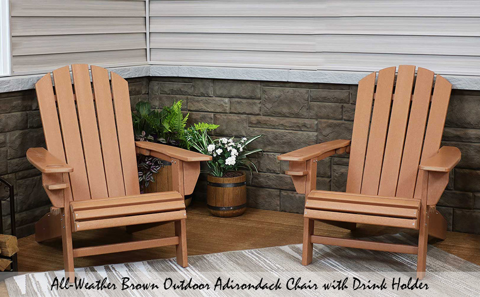 All-Weather Brown Outdoor Adirondack Chair with Drink Holder