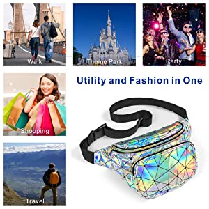 iridescent fanny pack for women