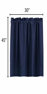 blue curtains blackout 45 inch length