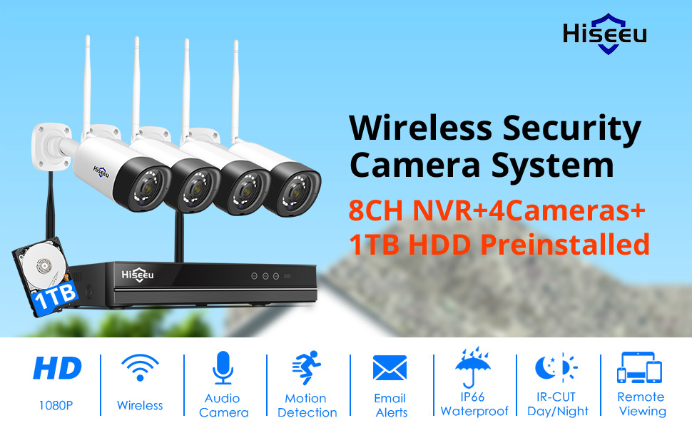 25647322  【Two Way Audio】Hiseeu Wireless Security Camera System,1TB Hard Drive,4Pcs 1080P Cameras 8Channel NVR,Mobile&PC Remote,Outdoor IP66 Waterproof,Night Vision,Motion Alert,Plug&Play,7/24/Motion Record b30ec656 1975 4086 a61a dbd823192bb7
