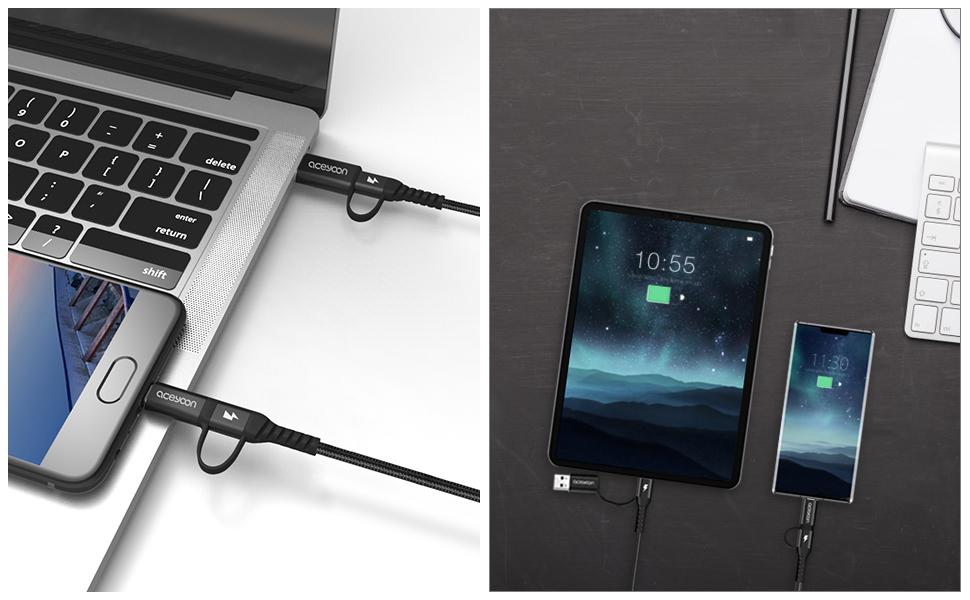 YOMRIC C/âble de Charge Rapide de Type C 5A avec Port USB 3.1 pour appareils de Type C T/él/éphone PocoPhone F1 Android C/âble de Charge USB Color : White, Size : 3M