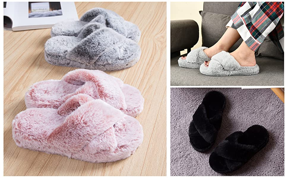 fuzzy womens slippers