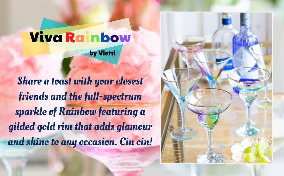 vietri viva rainbow glass wine coupe champagne flute drinkware barware dinnerware tableware drink