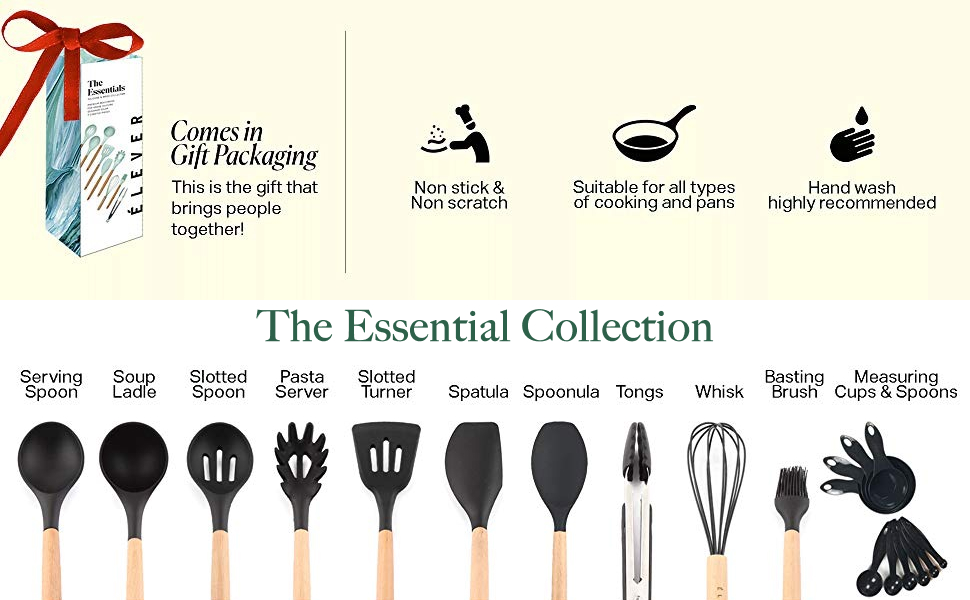 Ladle, Serving Utensil, Spoon, Pasta Server, Silicone Spatula set, Cooking Brush, Whisk, Tongs
