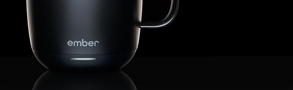 LED coffee mug temperature heated black 10 oz