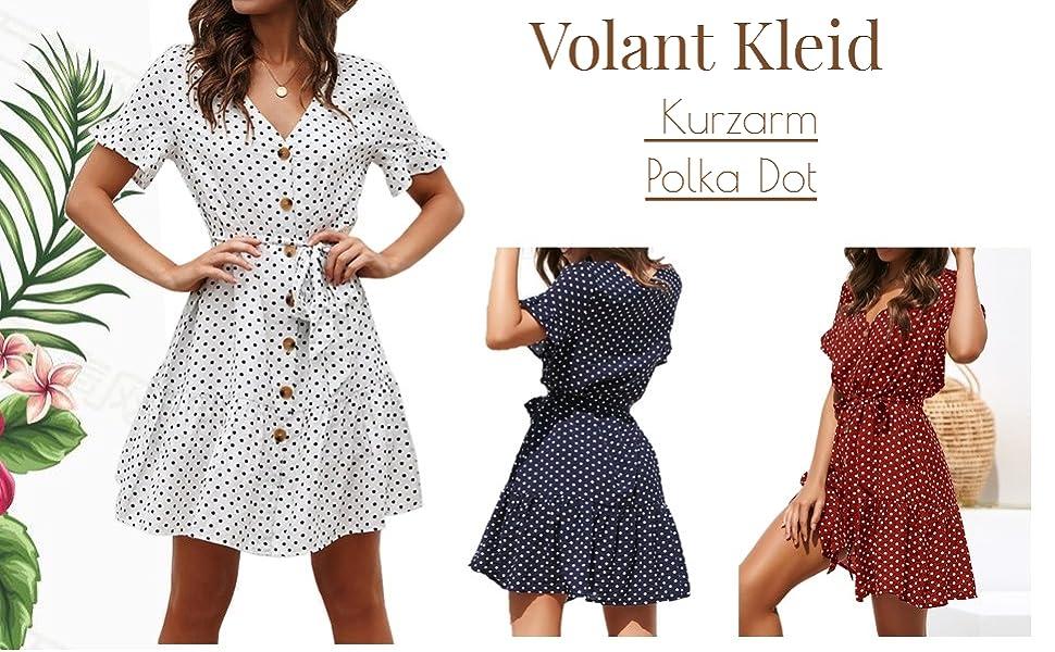 Sommerkleid Damen Kurzarm Elegant V-Ausschnitt Knopfleiste Polka Dot Kurze Strand Freizeitkleider mi G/ürtel/…
