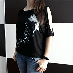BUOYDM Maglietta Donna Camicetta Manica Corta T-Shirt Cotone Estivo Senza Spalline Stampa Piccola Fata Sciolto Casuale Camica Tops
