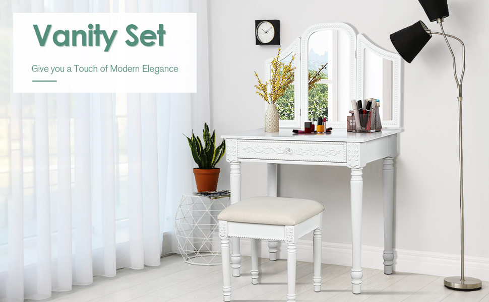 CHARMAID Vanity Set with Tri-Folding Mirror and Cushioned Stool