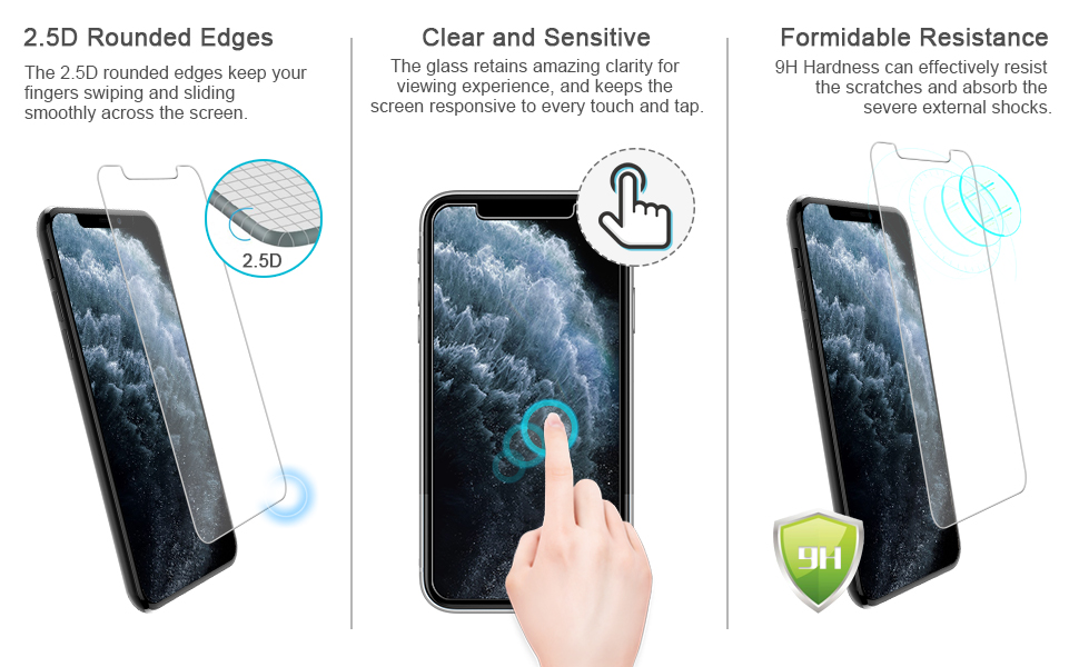 Screen Transparent Mobile Phone Tempered Glass Film Back Film GzPuluz Glass Protector Film 50 PCS for iPhone 11 Pro 9H 2.5D Half