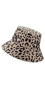Alleza Femme Bob Chapeau de Soleil avec Motif Leopard El/égant Printemps Et/é
