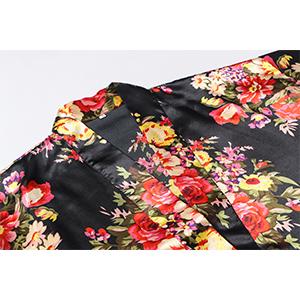 plus size short floral satin kimono robe for bridal shower party bathrobe bridesmaid lingerie robes
