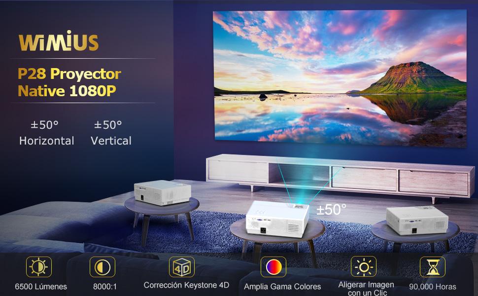 Proyector, WiMiUS 6500 Lúmenes Proyector Full HD 1920x1080P Proyector Cine en Casa Soporte 4K Contraste 8000: 1 Ajuste Digital 4D Pantalla 300