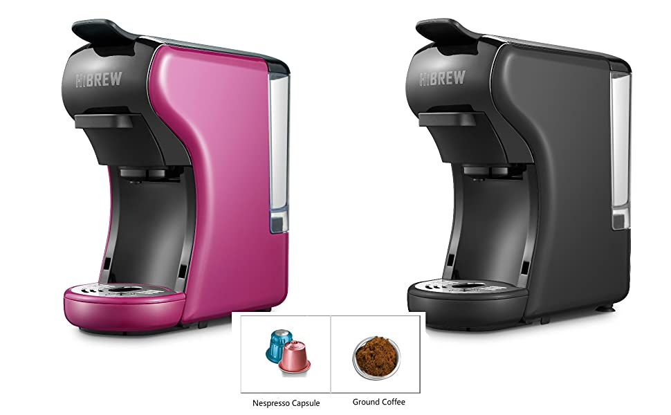 HiBREW 2-in-1 Compact Multi-Function Purple Mini Espresso Coffee Maker Espresso Machine Travel Size Compatible with Ground Coffee and Nespresso ...