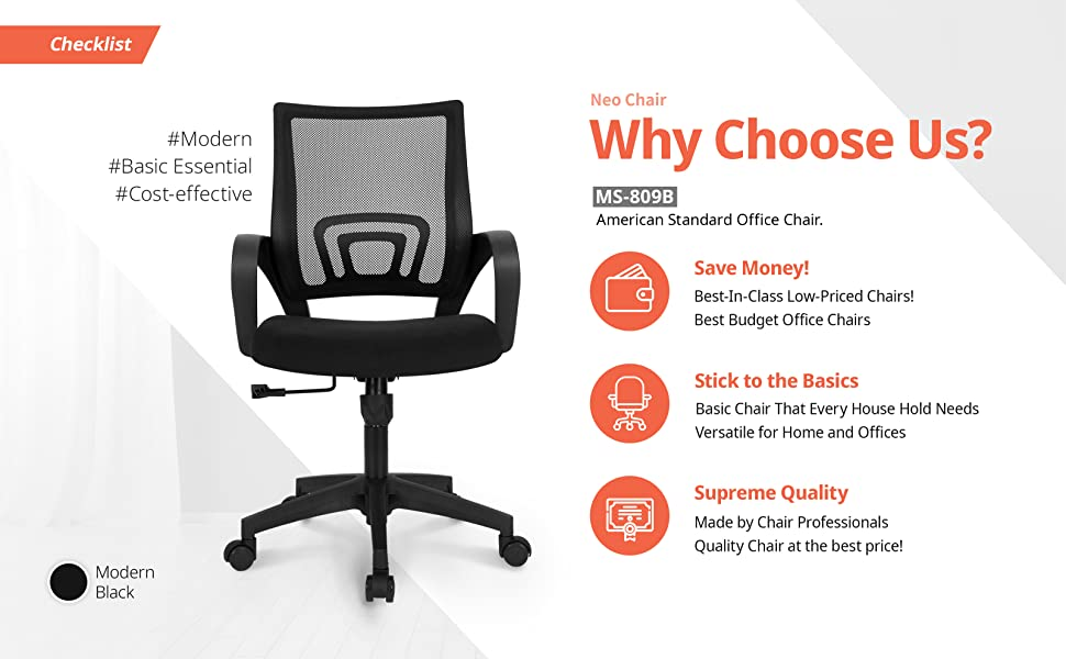 Amazon Com Neo Chair Office Chair Ergonomic Desk Chair Mesh Computer Chair Lumbar Support Modern Executive Adjustable Stool Rolling Swivel Chair Comfortable Mid Black Task Home Office Chair Black Kitchen Dining