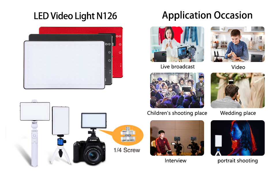 LituFoto N126 LED Video Light Mini Pocket LED Camera Light 126pcs Bi-Color OLED Display Screen with Built-in Lithium Battery for Video Shooting on Cameras and Smartphones