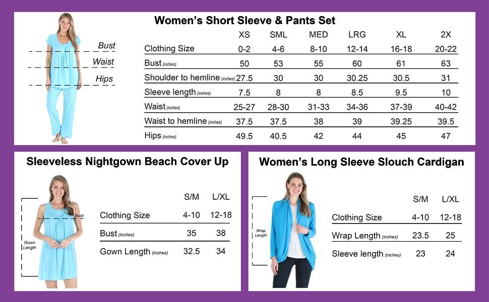 Women's Pajama Size Chart
