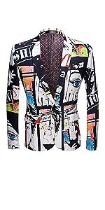 Men's Fashion Slim Fit Casual Print One Button Suit Jacket Blazer
