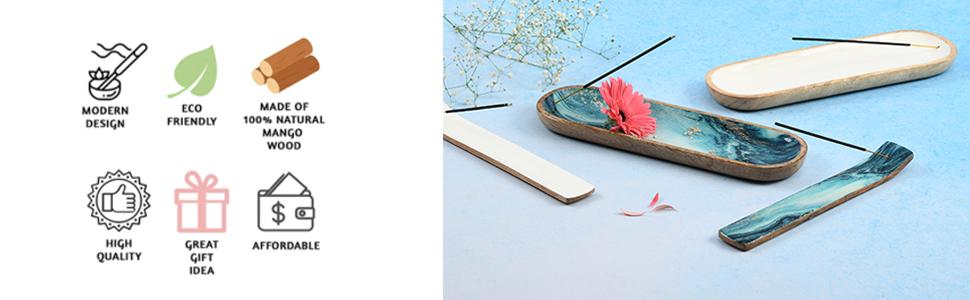 Ash Catcher Wooden Incense Tray Stick Holder Joss Burner Home Fragrance 1x