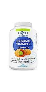 core med liposomal vitamin c softgels capsules fat soluble vitamin c complex  non-gmo vit c