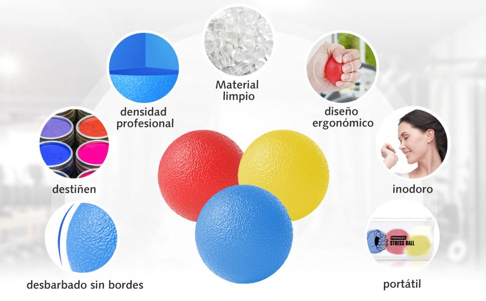 Peradix 3 Piezas Anti estrés Bolas, Fortalecedor de Mano, Pelota ...