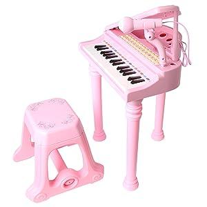 マジックピアノ ひかるカラフル 椅子付き ピンク・ブラック