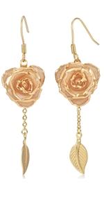 pink rose earring dangler eardrop Studs