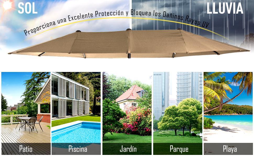 Outsunny Sombrilla Grande Parasol Doble 4.6x2.7m Sombrilla Jardín ...