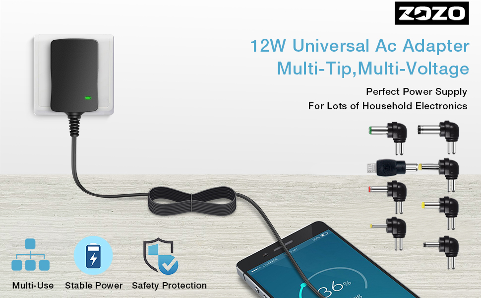 12W Universal ac adapter with multi-tip