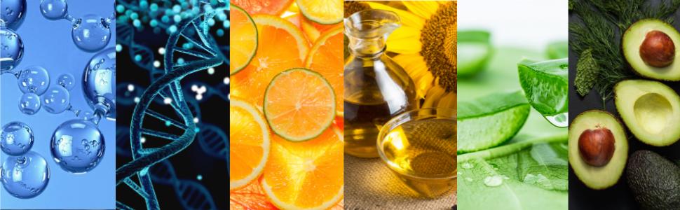 Hyaluronic Acid, Matryxl, Vitamin C, Sunflower Oil, Aloe Vera, Avocado.