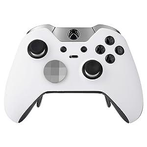 eXtremeRate Carcasa con 2 Anillos de Acento para Mando Xbox One Elite Protectora Tacto Suave Placa Frontal Kit de reemplazo Cubierta Shell Funda para Controlador de Xbox One Elite(Modelo 1698) Blanco: Amazon.es: