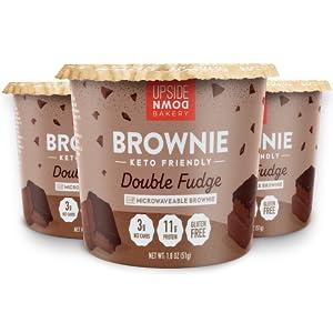 microwaveable keto brownie cup mix high protein breakfast dessert cup gluten free low sugar brownie