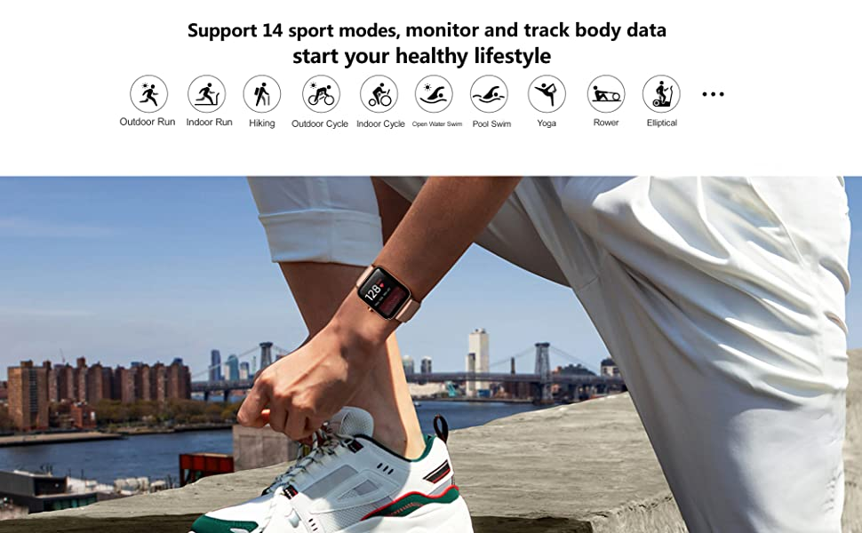Fitness smart watch supports 14 sport modes