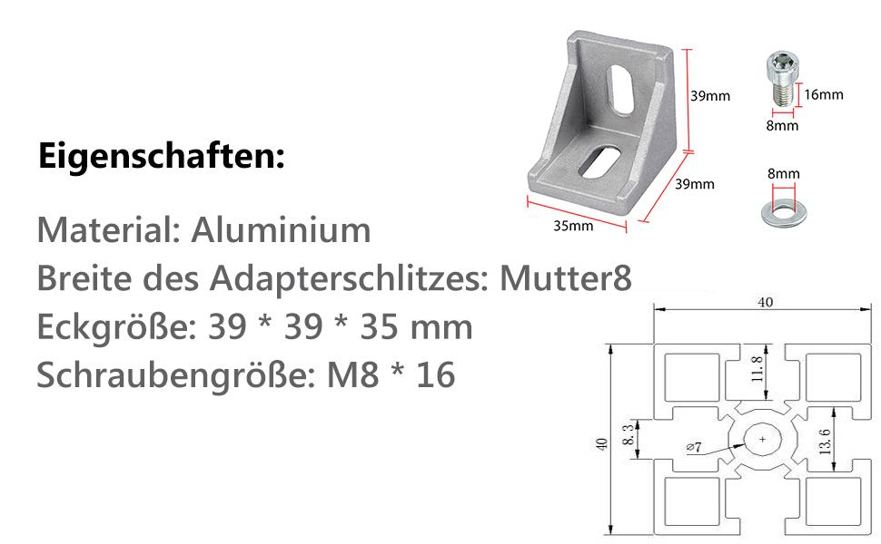 10x Winkel Befestigung Befestigungsmaterial Nut Raster Streben Aluprofil 40x40