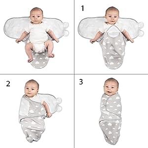 Set Baby Pucksack Pucktuch Puckt/ücher Wickeldecke Puckschlafsack mit M/ütze Hut set aus reiner Baumwolle f/ür Neugeborenen von 0-3 3-6 Monate